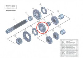 Secondary 7: output shaft, 2nd gear, 29 teeth: MB-2.2-29