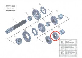Secondary 12: output shaft 5th gear, 24 teeth: MB-2.5-24