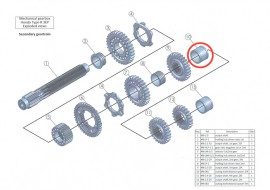 Secondary 10: output shaft distance spacer 3/4: MB-001