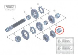 Secondary 13: output shaft distance spacer 5th: MB-002